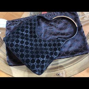 Gucci Monogram Suede Leather Metal Gucci Handle